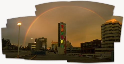 The complete panoramic composite (holes and all) of the full rainbow at 7:14 a.m.