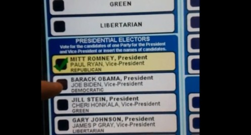 "A voting machine that just wouldn't take ""OBAMA"" for an answer in November of 2012."