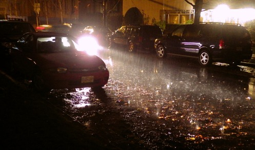 Cars making waves on Birch Street just after 5 p.m.