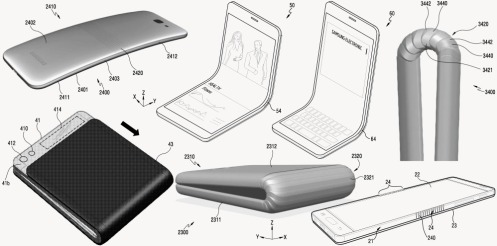 "Various images from Samsung's April 2016 patent for a ""flexible device""."