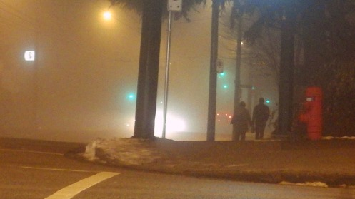The first fog photo that I took at 9:31 p.m. looking north down Hemlock St.