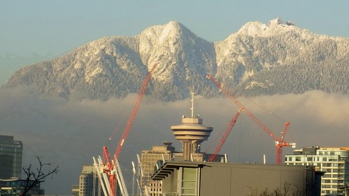 Obligatory photo construction cranes of snow on the North Shore Mountains