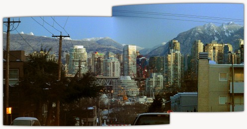 The snow-capped North Shore Mountains seen from Alder St. at 7:32 a.m.