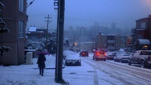 The view north down Alder St. at 7:50; at least the cars are tamping down the snow.