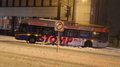 Stalled bus at 6:55 a.m., stomped by Monday morning's heavy snow.