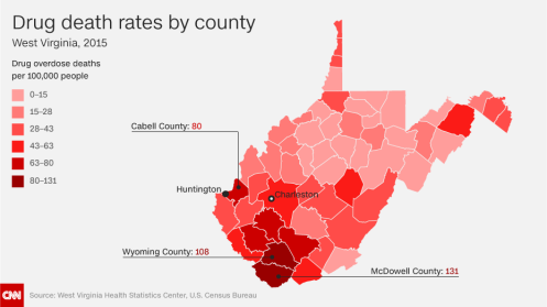 2015 overdose deaths by county in the U.S. state of West Virginia.—CNN