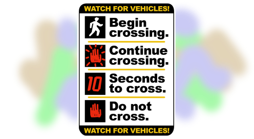 A mockup of a street sign providing concise instructions for countdown timer crosswalk.